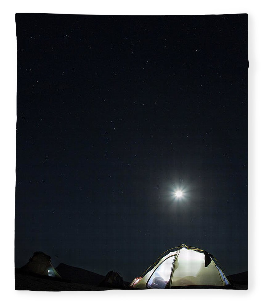 Camping Fleece Blanket featuring the photograph Camping On The Beach Under The Moon And by Anna Henly