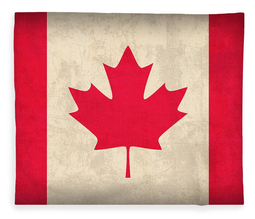 Canada Fleece Blanket featuring the mixed media Canada Flag Vintage Distressed Finish by Design Turnpike