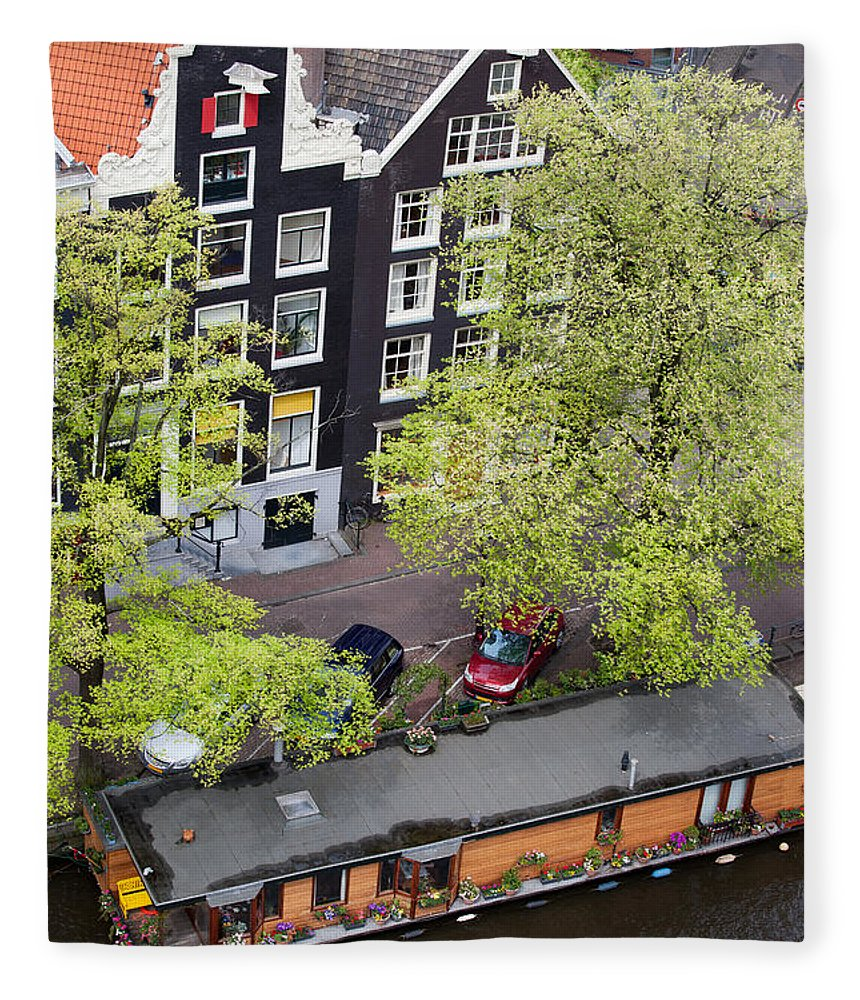 Amsterdam Fleece Blanket featuring the photograph Canal Houses And Houseboat In Amsterdam by Artur Bogacki
