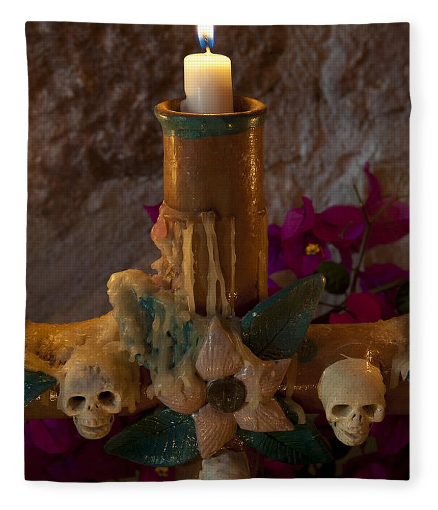 San Miguel De Allende Fleece Blanket featuring the photograph Candle On Day Of Dead Altar by John Shaw