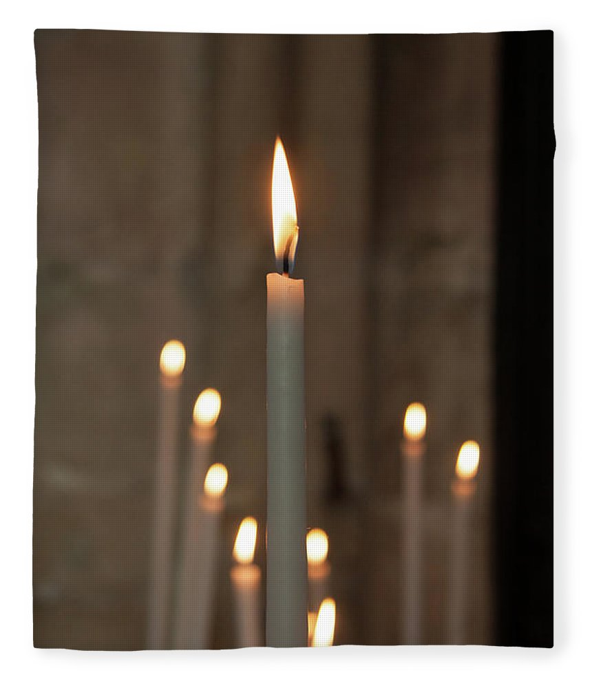 Burning Fleece Blanket featuring the photograph Candles by Martine Roch