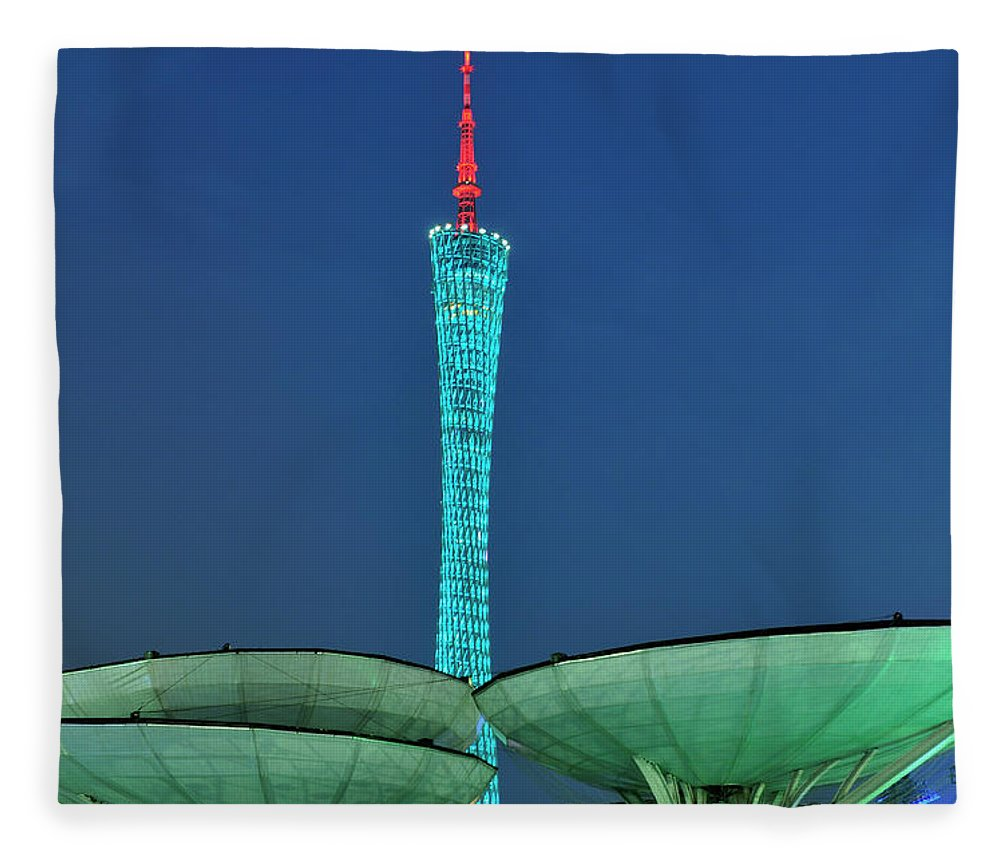 Chinese Culture Fleece Blanket featuring the photograph Canton Tower by Huang Xin