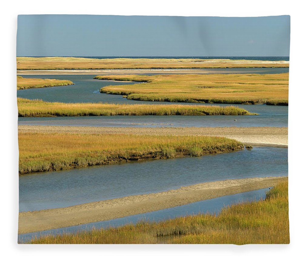 Grass Fleece Blanket featuring the photograph Cape Cod Wetlands by Frankvandenbergh