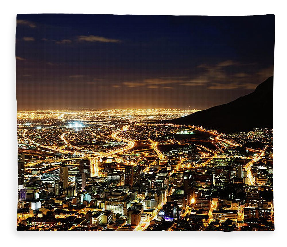 Scenics Fleece Blanket featuring the photograph Cape Town, South Africa By Night by Clicknique