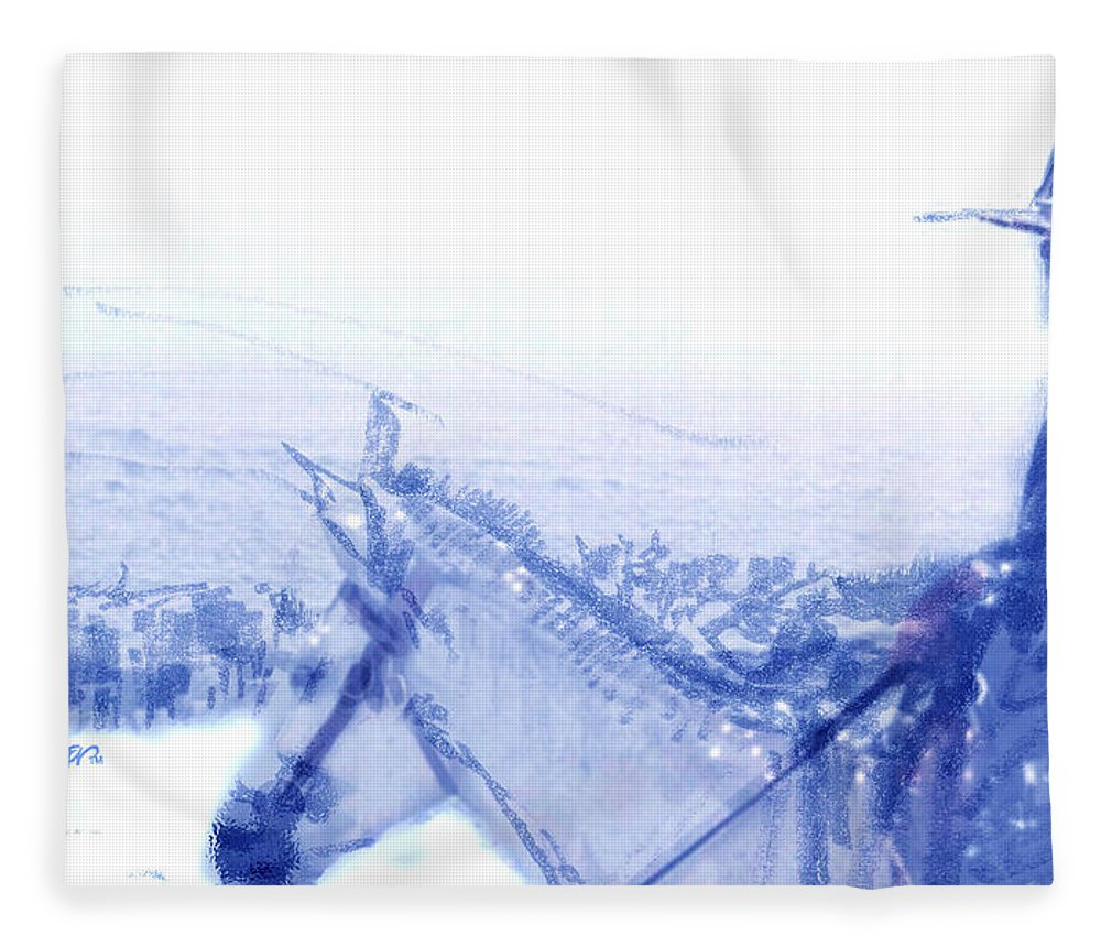 Capt. Call In A Snowstorm Fleece Blanket featuring the drawing Capt. Call in a Snow Storm by Seth Weaver