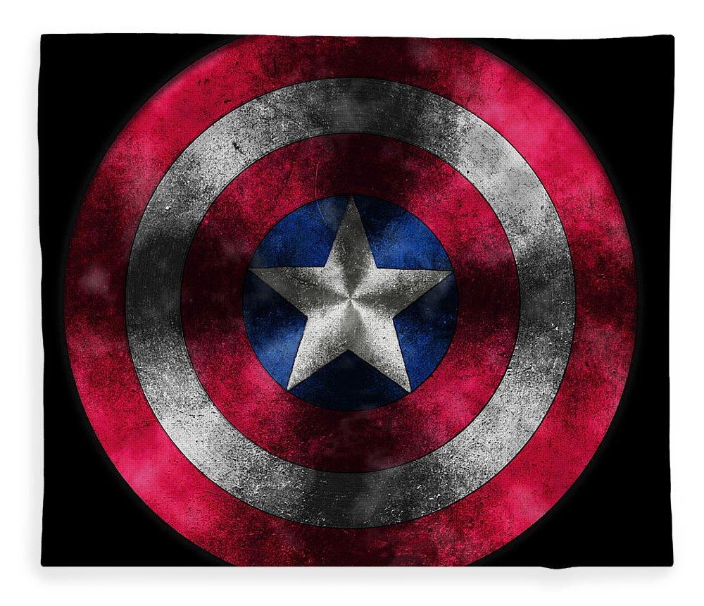 Captain America Movie Fleece Blanket featuring the painting Captain America Shield by Georgeta Blanaru