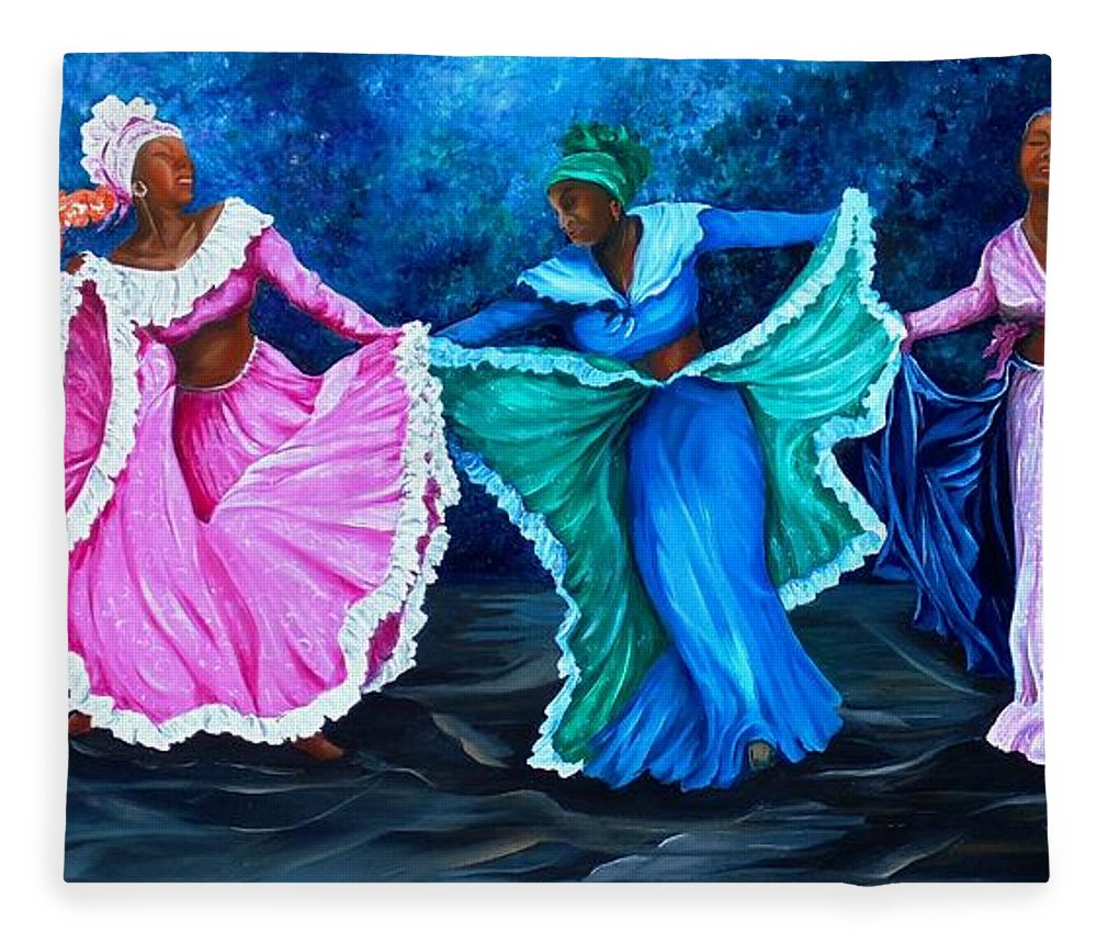 Caribbean Dance Fleece Blanket featuring the painting Caribbean Folk Dancers by Karin Dawn Kelshall- Best