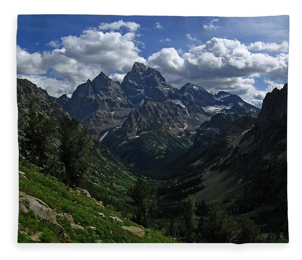 Grand Teton Fleece Blanket featuring the photograph Cascade Canyon North Fork by Raymond Salani III