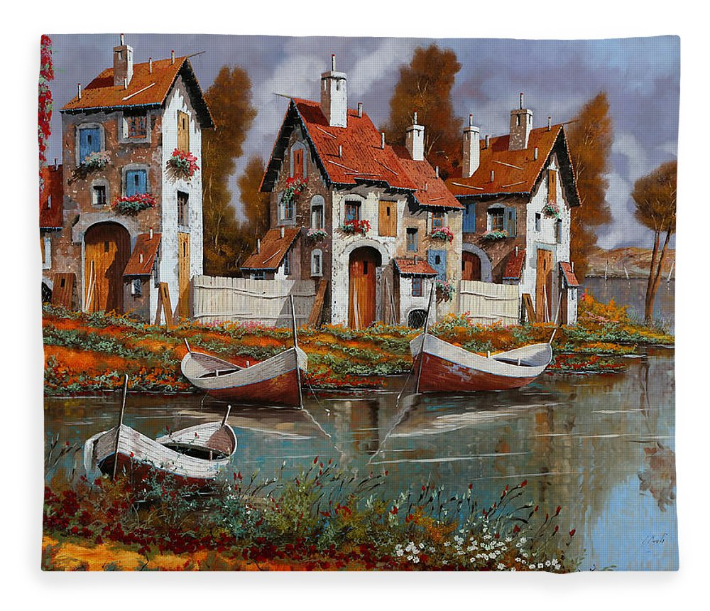 Village Fleece Blanket featuring the painting Case A Cerchio by Guido Borelli