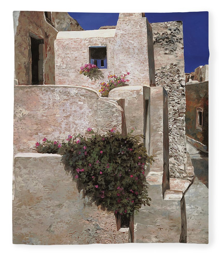 Landscape Fleece Blanket featuring the painting case a Santorini by Guido Borelli