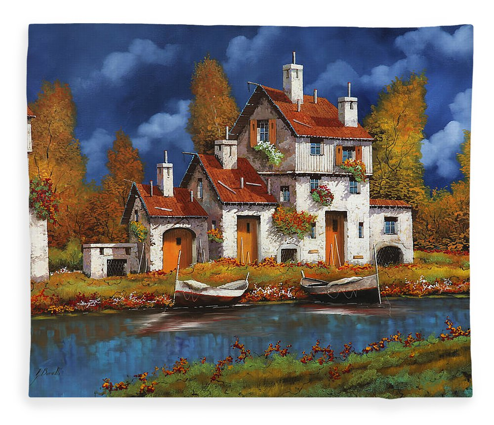White House Fleece Blanket featuring the painting Case Bianche Sul Fiume by Guido Borelli