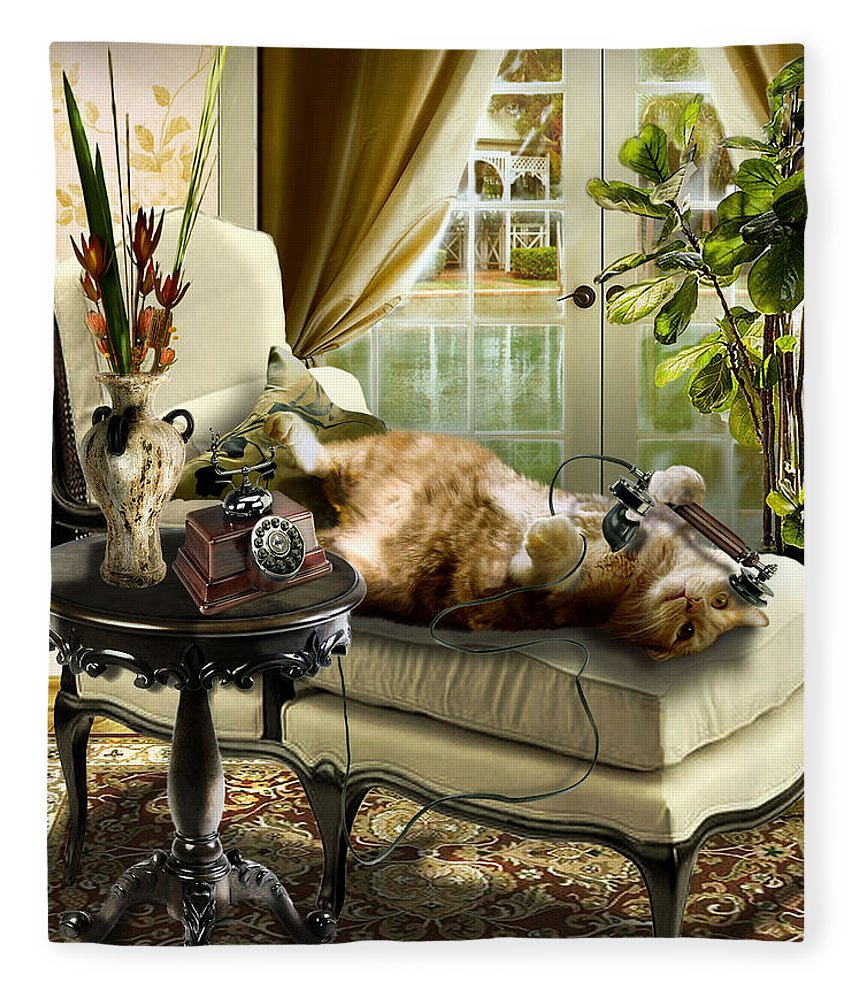 Pet Cat Painting Fleece Blanket featuring the painting Funny pet talking on the phone by Regina Femrite