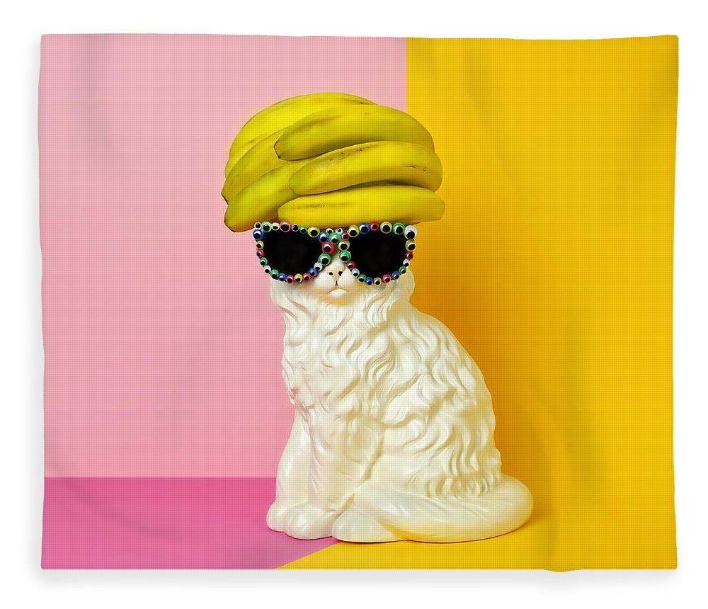Statue Fleece Blanket featuring the photograph Cat Wearing Sunglasses And Banana Wighat by Juj Winn