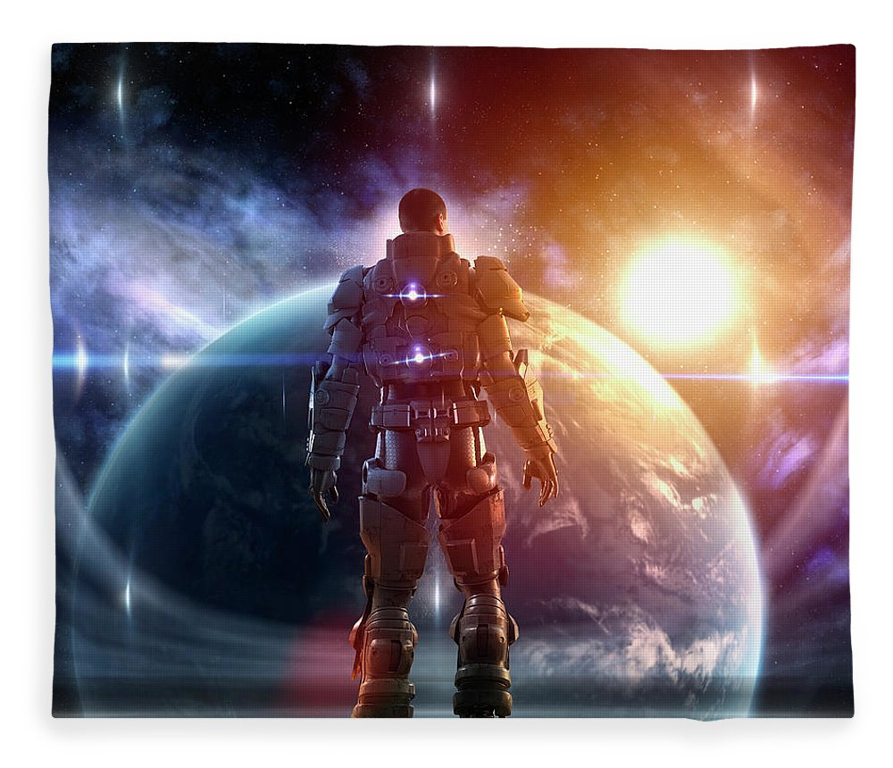 Education Fleece Blanket featuring the photograph Caucasian Soldier Wearing Glowing Armor by Colin Anderson Productions Pty Ltd