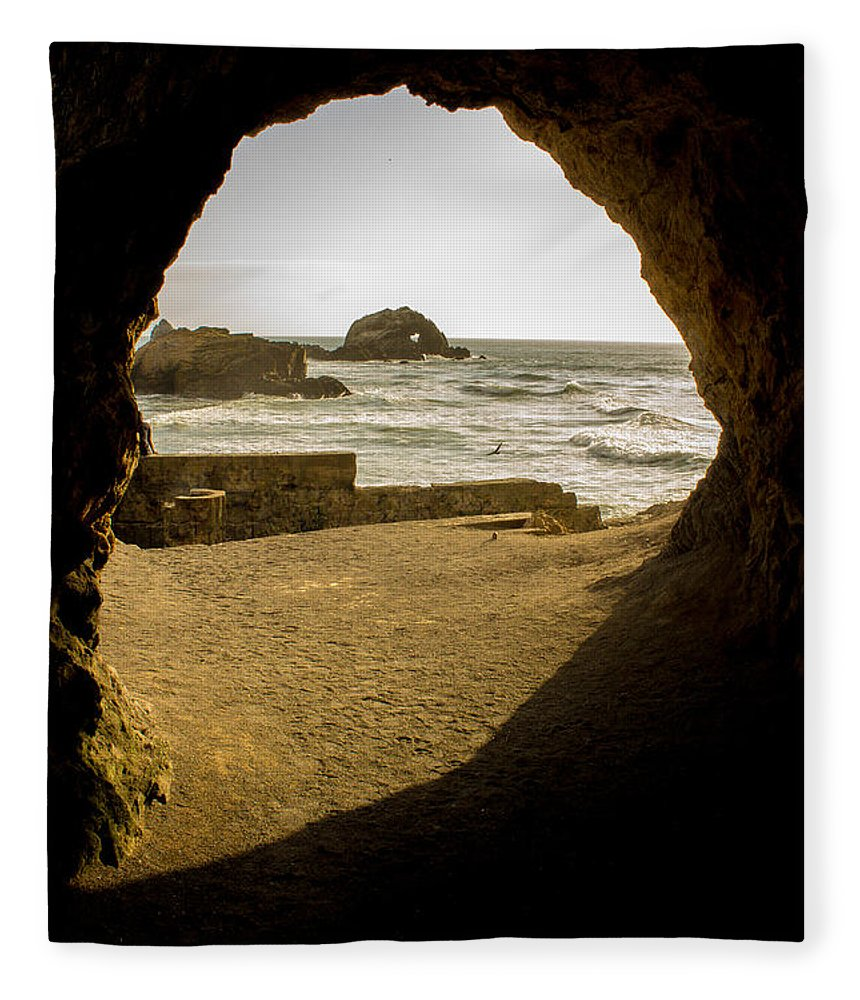 Cave Fleece Blanket featuring the photograph Cave View Of Rocks Near San Francisco Ca Cliff House by G Matthew Laughton