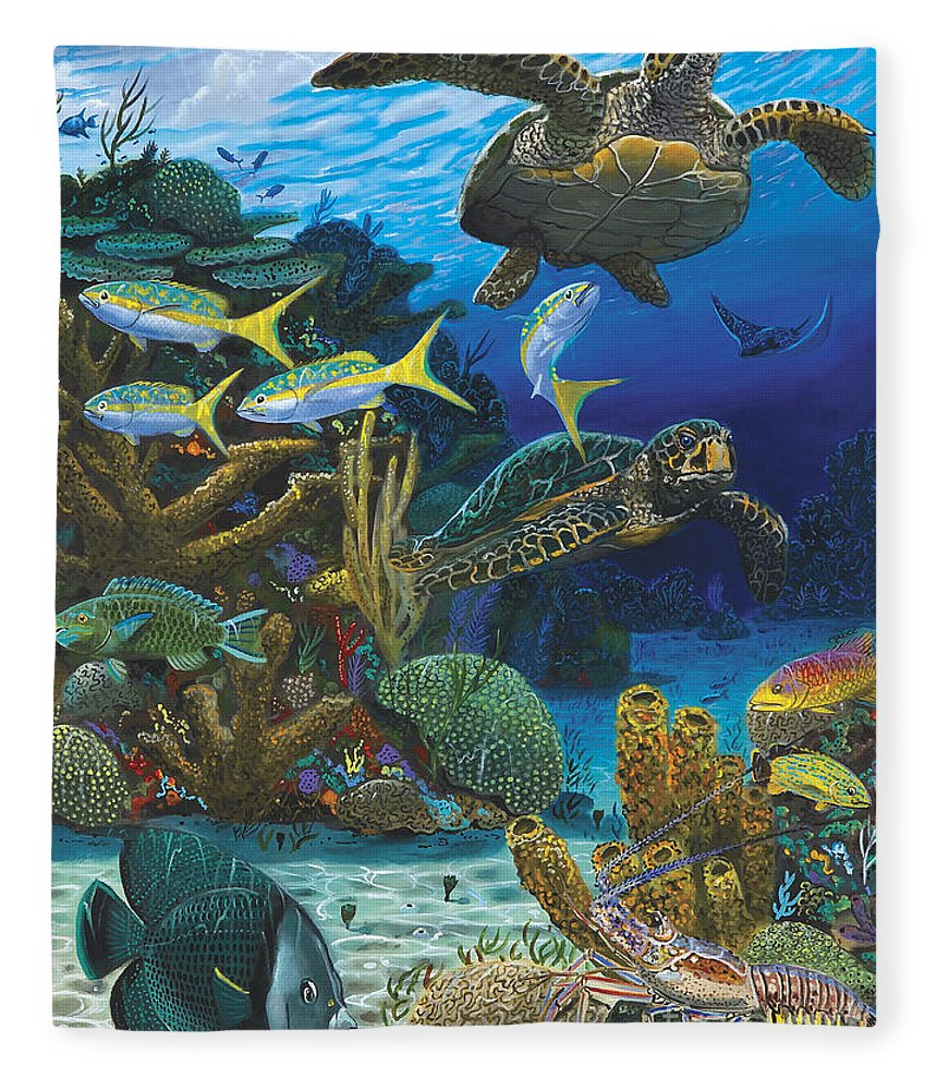 Turtle Fleece Blanket featuring the painting Cayman Turtles Re0010 by Carey Chen