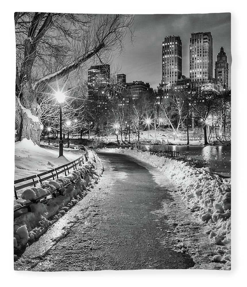 Snow Fleece Blanket featuring the photograph Central Park Path Night Black & White by Michael Lee