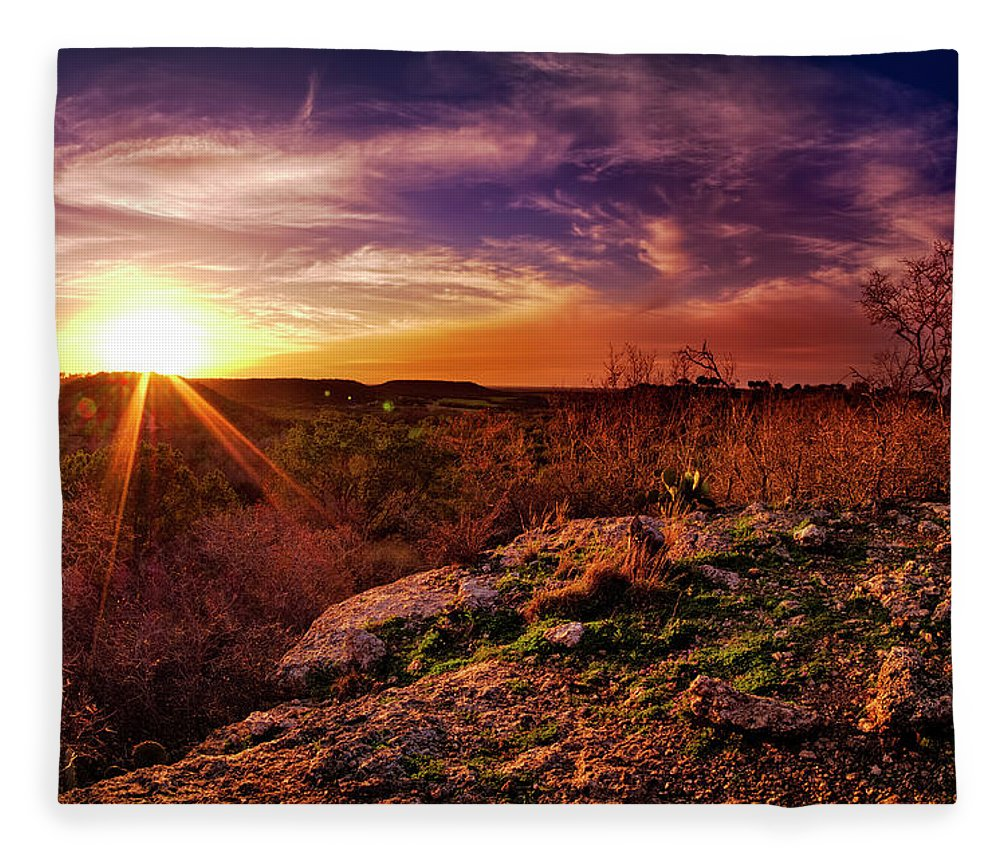 Tranquility Fleece Blanket featuring the photograph Chalk Mountain At Sunset by Dean Fikar