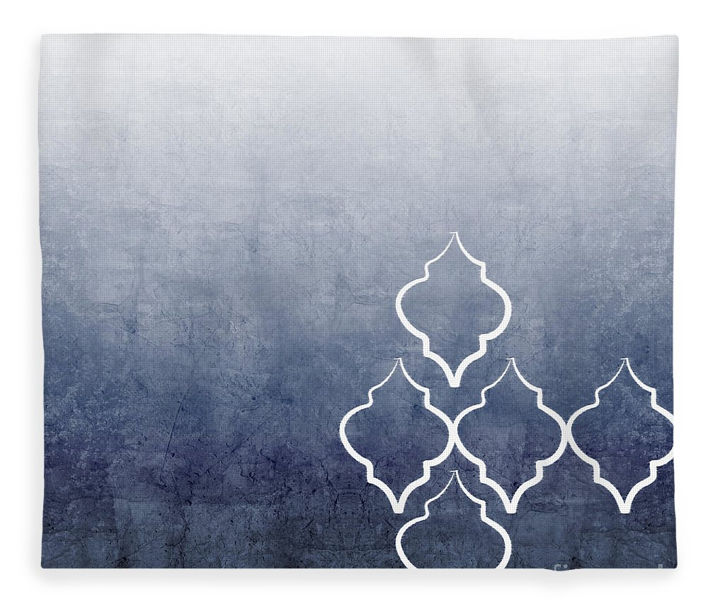 Abstract Fleece Blanket featuring the mixed media Chambray Ombre by Linda Woods