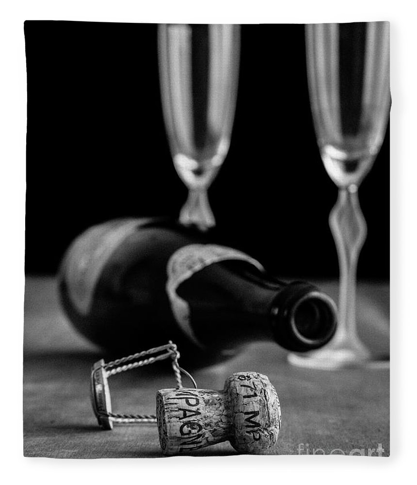 Champagne Fleece Blanket featuring the photograph Champagne Bottle Still Life by Edward Fielding