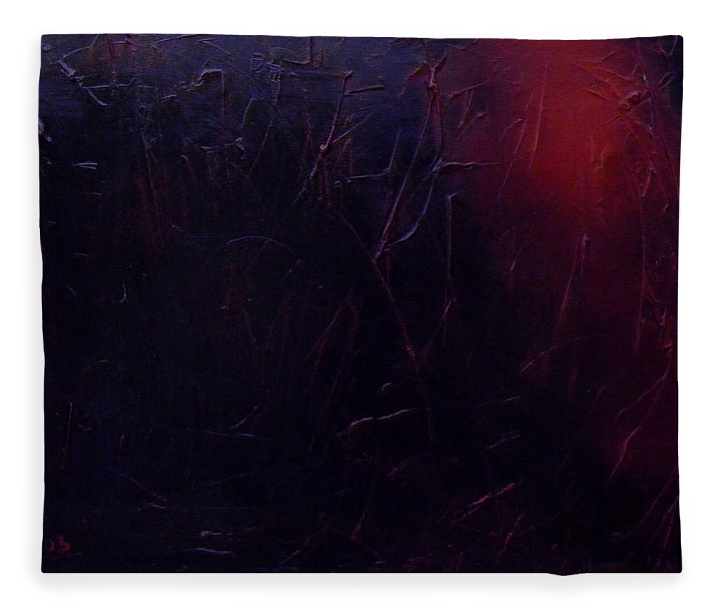 Abstract Fleece Blanket featuring the painting Chaos by Sergey Bezhinets