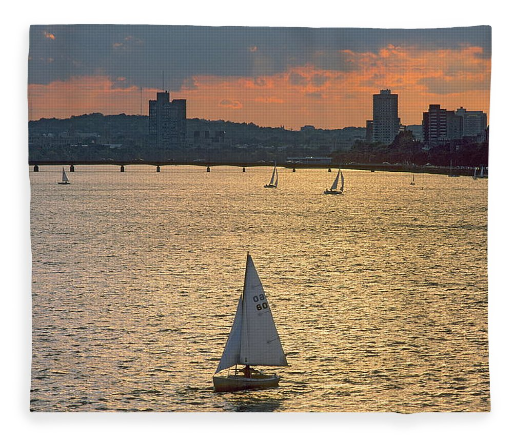 Tranquility Fleece Blanket featuring the photograph Charles River, Boston by Franz Marc Frei