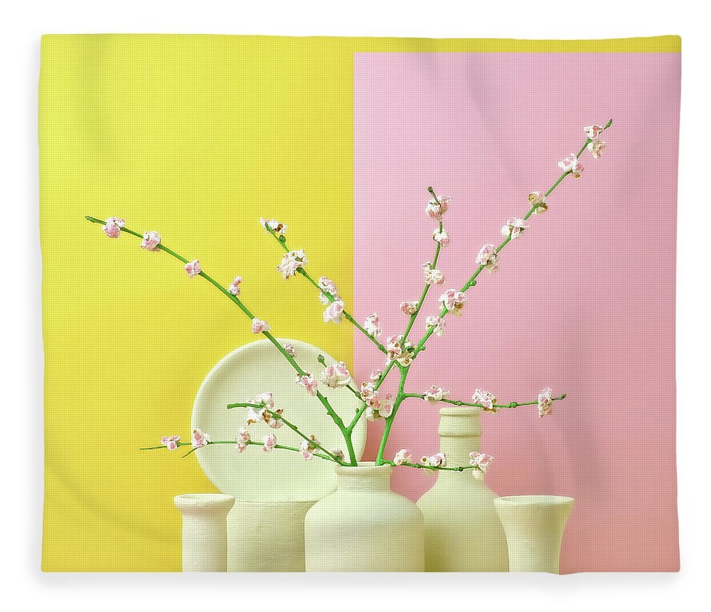 Out Of Context Fleece Blanket featuring the photograph Cherry Blossom Popcorn In Monochromatic by Juj Winn