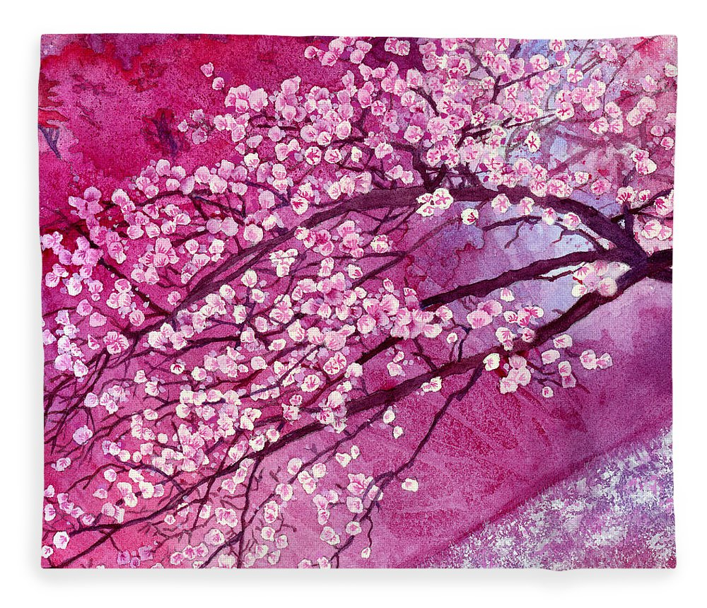 Cherry Blossom Fleece Blanket featuring the painting Cherry Blossoms by Hailey E Herrera