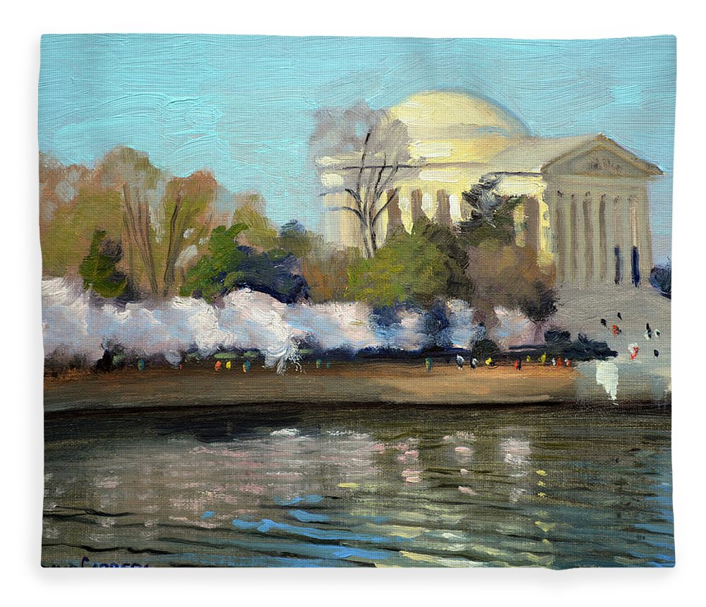 Washington Dc Fleece Blanket featuring the painting Cherry Blossoms Morning - Washington DC by Armand Cabrera