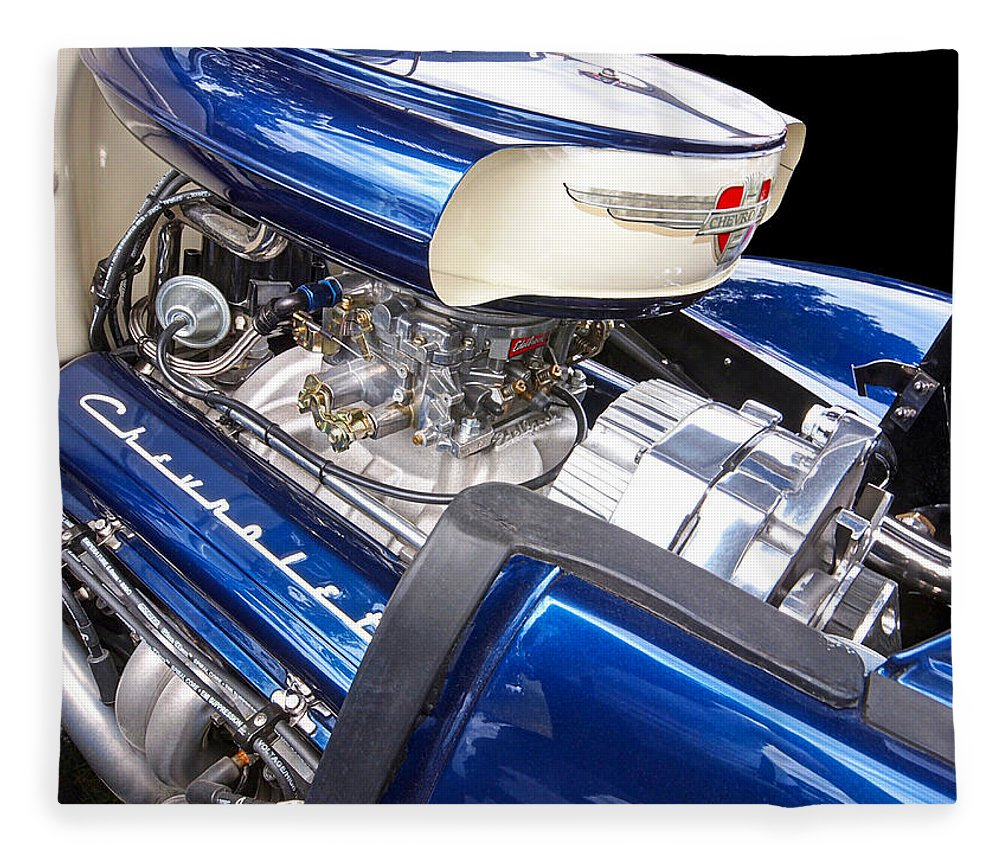 Hot Rod Fleece Blanket featuring the photograph Chevy Hot Rod Engine by Gill Billington