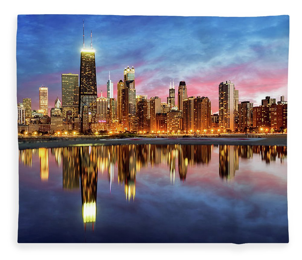 Tranquility Fleece Blanket featuring the photograph Chicago by Joe Daniel Price