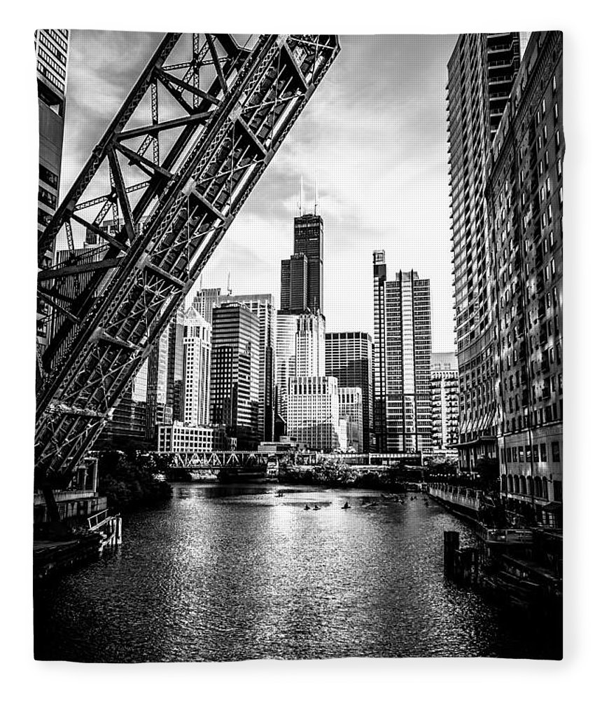 America Fleece Blanket featuring the photograph Chicago Kinzie Street Bridge Black and White Picture by Paul Velgos