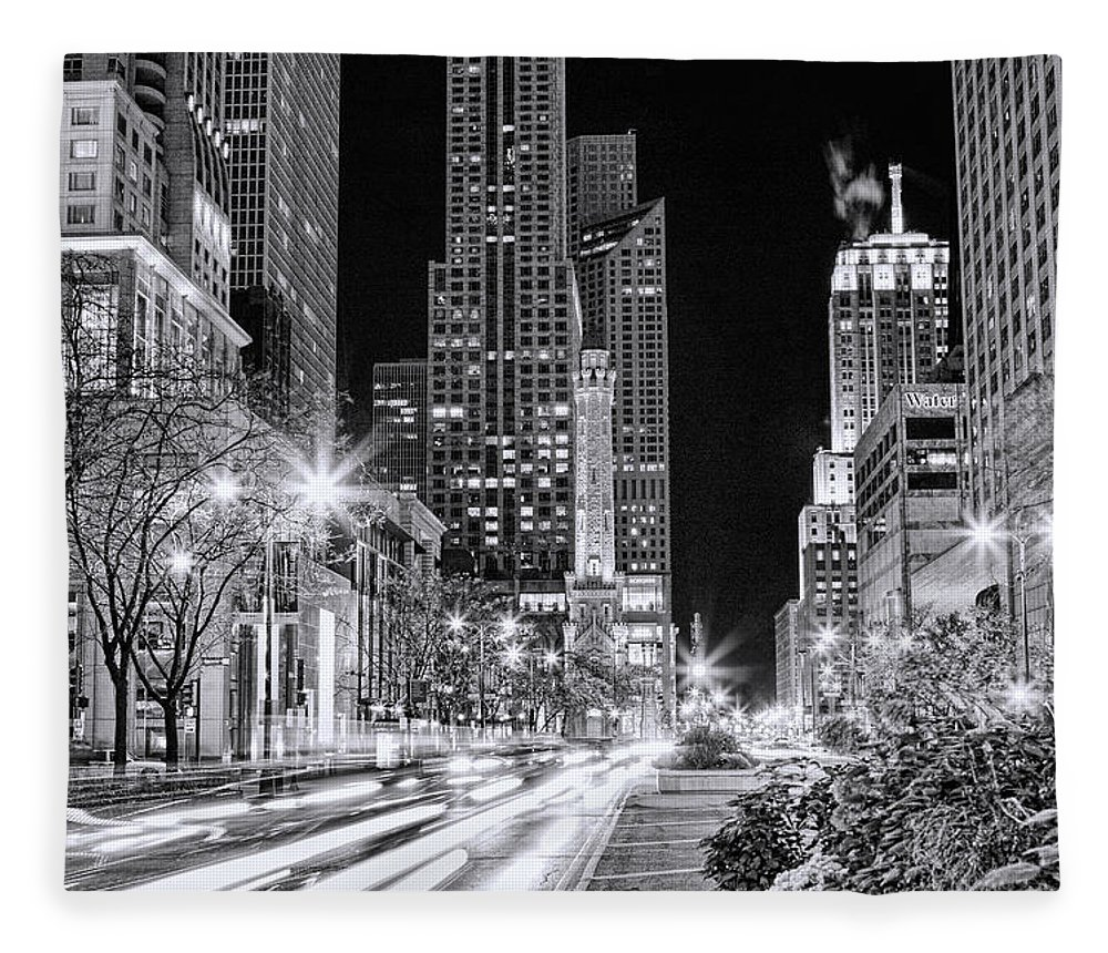 Chicago Fleece Blanket featuring the painting Chicago Michigan Avenue Light Streak Black And White by Christopher Arndt