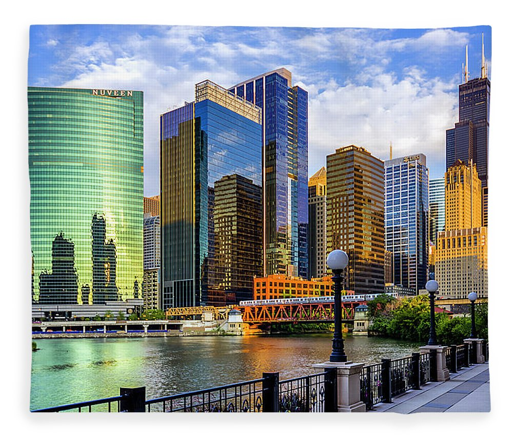 Chicago River Fleece Blanket featuring the photograph Chicago River & Willis Tower by Carl Larson Photography