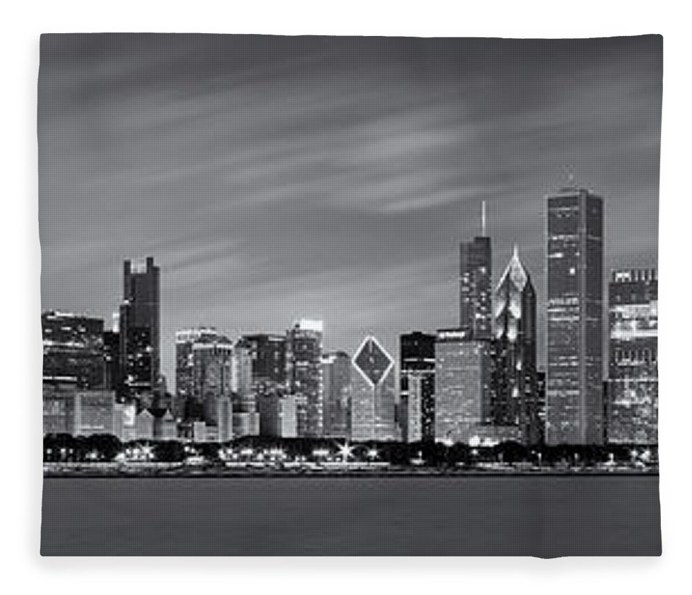 3scape Fleece Blanket featuring the photograph Chicago Skyline At Night Black And White Panoramic by Adam Romanowicz