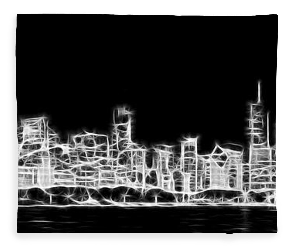 3scape Fleece Blanket featuring the photograph Chicago Skyline Fractal Black And White by Adam Romanowicz