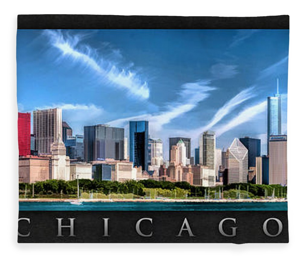 Chicago Fleece Blanket featuring the painting Chicago Skyline Panorama Poster by Christopher Arndt