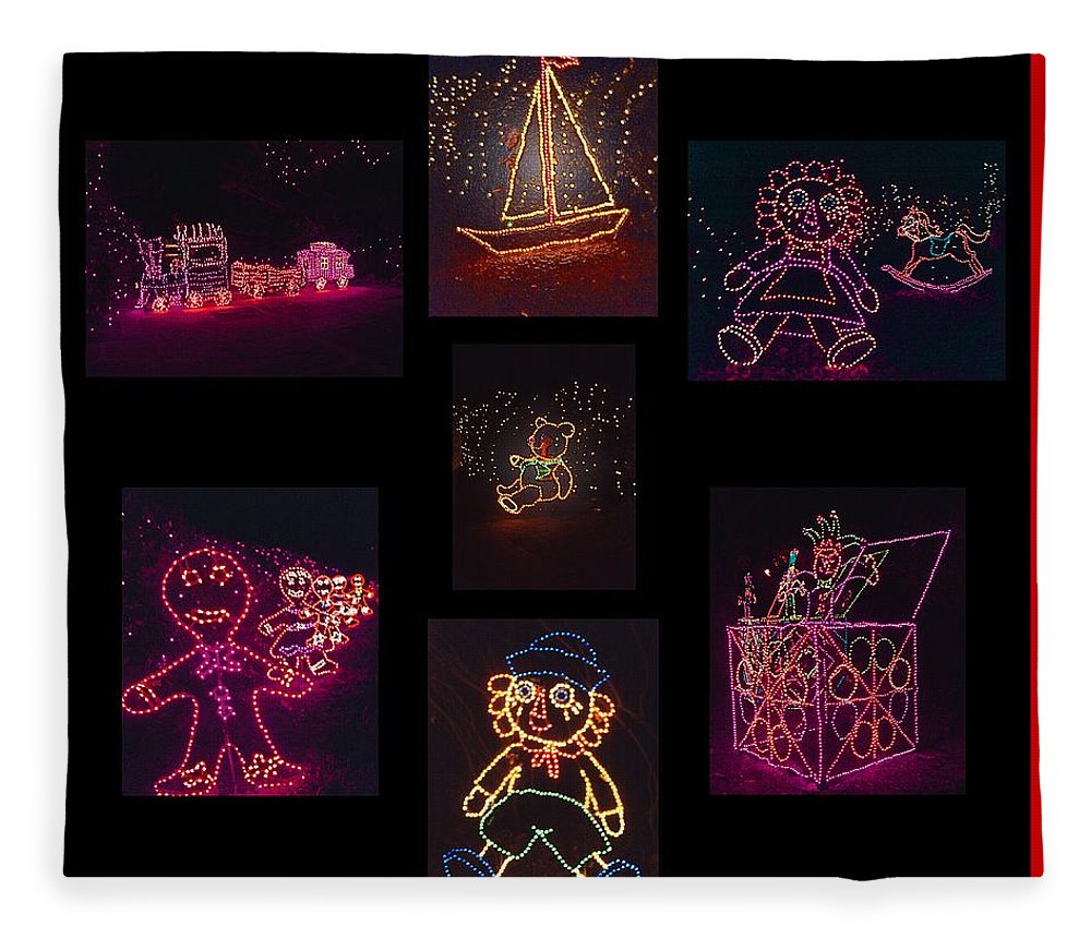 Digital Art Fleece Blanket featuring the photograph Children's Toys In Lights Poster 2 by Marian Bell