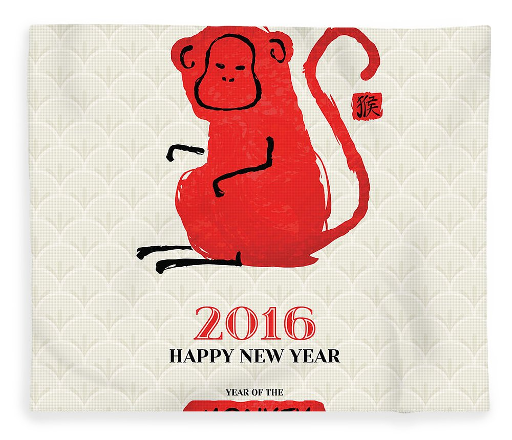 Chinese Culture Fleece Blanket featuring the digital art Chinese New Year Greeting Card With by Kotoffei