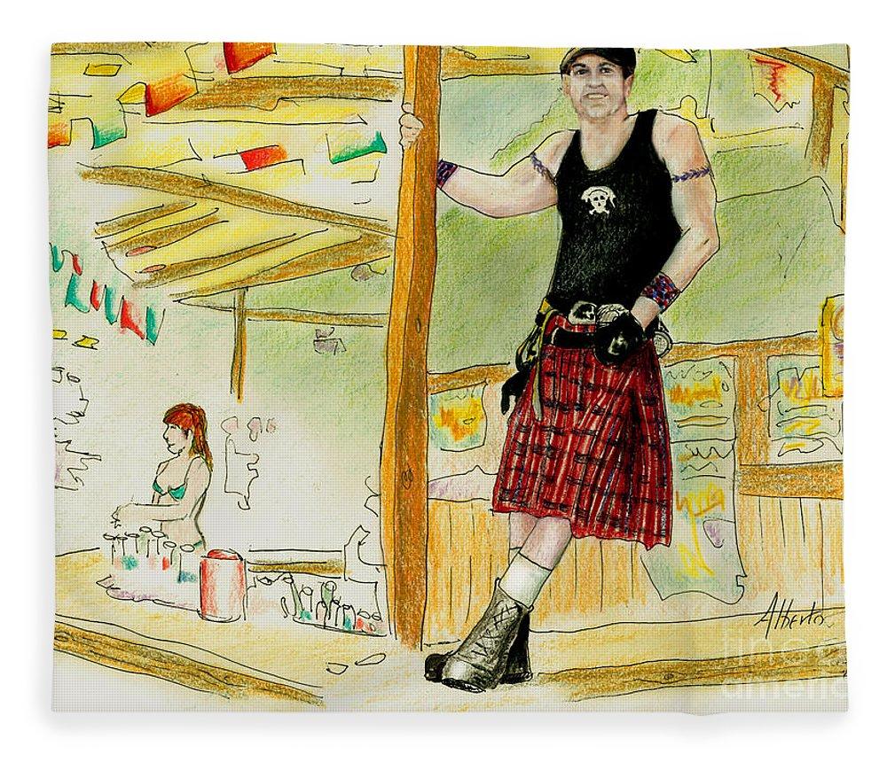 Kilt Fleece Blanket featuring the painting Chris At The Broken Spoke Saloon by Albert Puskaric