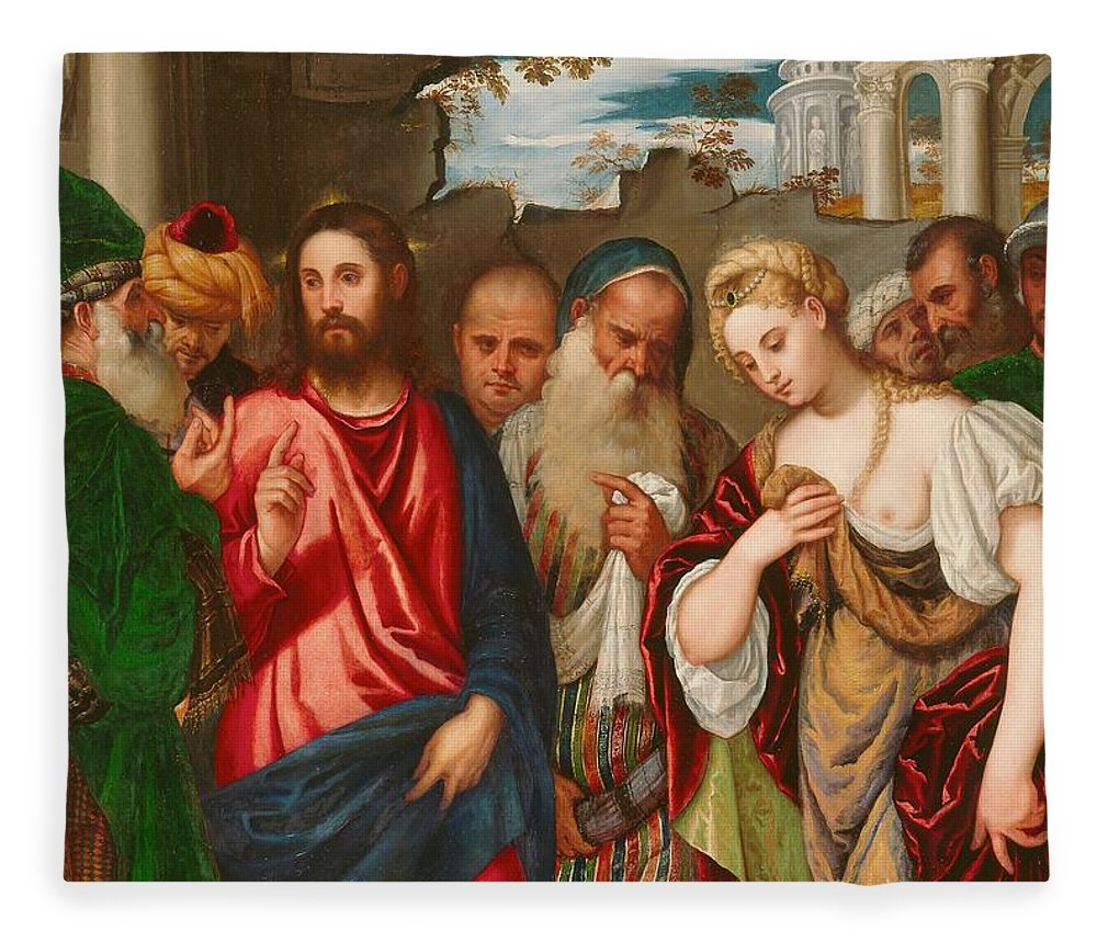 Son Of God Fleece Blanket featuring the painting Christ And The Woman Taken In Adultery by Veronese