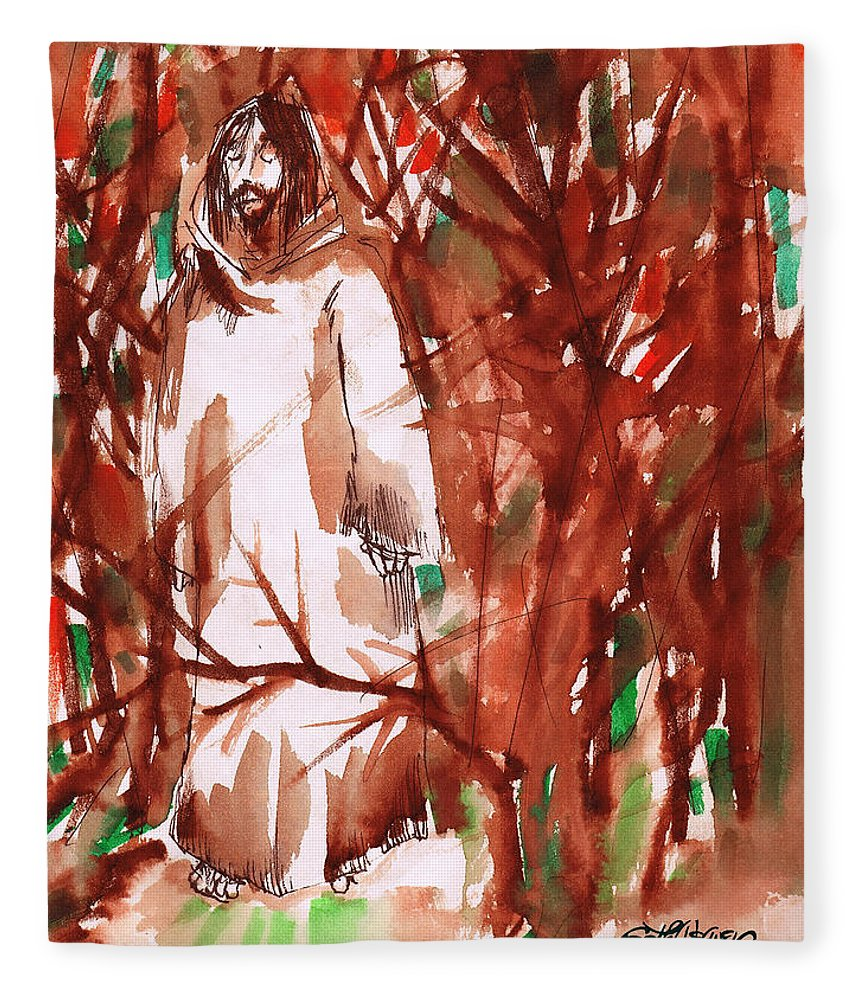 Christ In The Garden Fleece Blanket featuring the painting Christ in the Forest by Seth Weaver