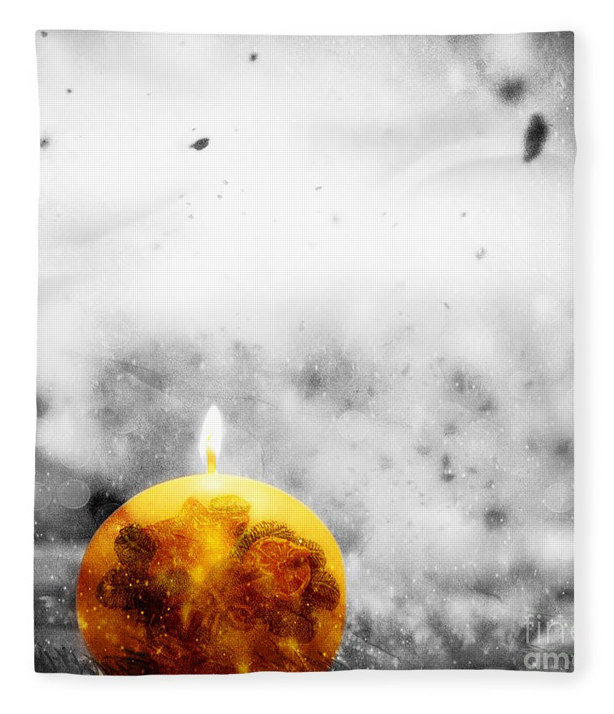 Winter Fleece Blanket featuring the photograph Christmas Ball Candle Lights On Winter Background by Michal Bednarek