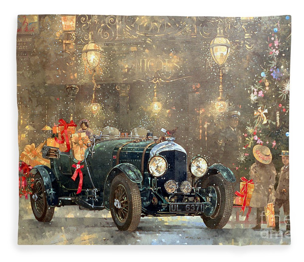 Motor Car Fleece Blanket featuring the painting Christmas Bentley by Peter Miller
