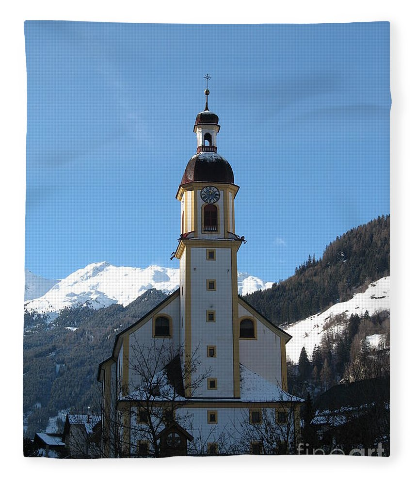 Church Fleece Blanket featuring the photograph Church In The Austrian Alps by Christiane Schulze Art And Photography