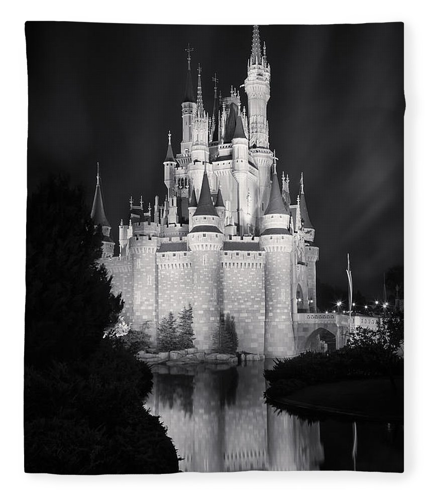 3scape Fleece Blanket featuring the photograph Cinderella's Castle Reflection Black And White by Adam Romanowicz
