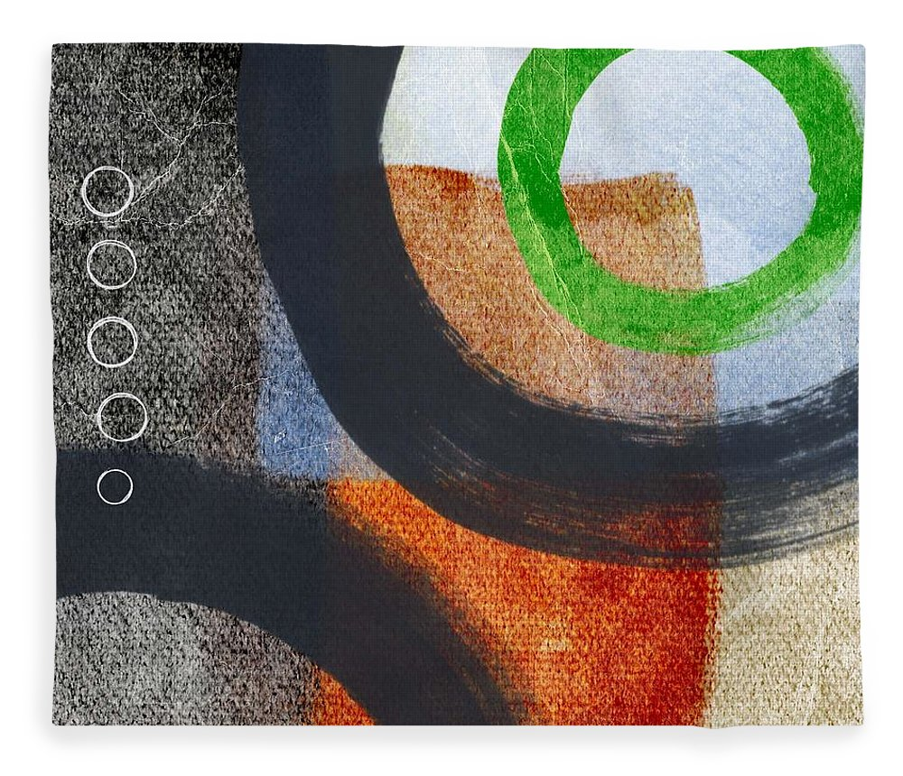 Circles Fleece Blanket featuring the painting Circles 2 by Linda Woods