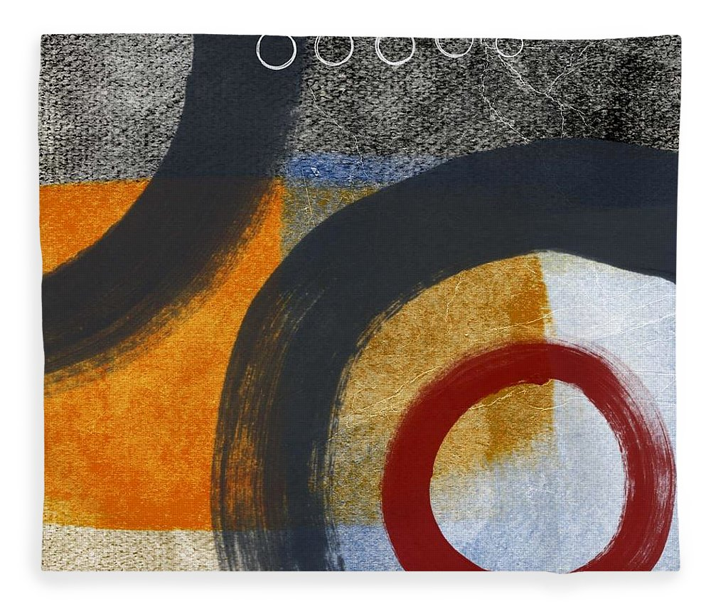 Circles Fleece Blanket featuring the painting Circles 3 by Linda Woods