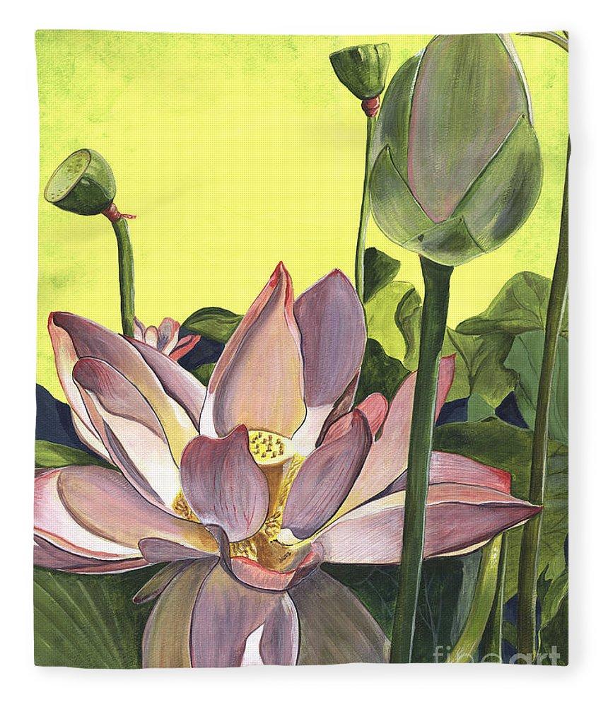 Floral Fleece Blanket featuring the painting Citron Lotus 2 by Debbie DeWitt