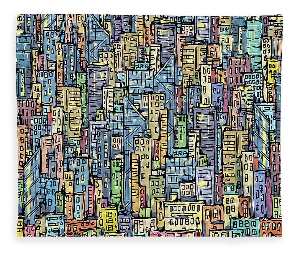 Rug Fleece Blanket featuring the digital art City Background by Dahabian